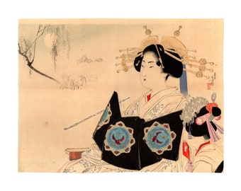 A voluptuous beauty (Mizuno Toshikata) N.1 kuchi-e woodblock print