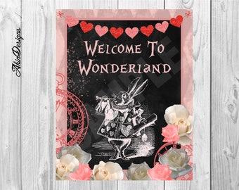 Alice in Wonderland, Welcome to Wonderland, Instant Download, Printable, 8x10