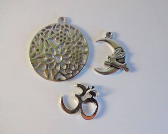 Set of 3 silver charms - Moon - flowers - creating jewelry