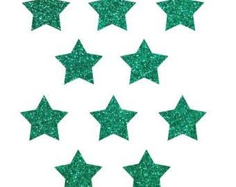 10 little stars clothing green glittery 15x15mm