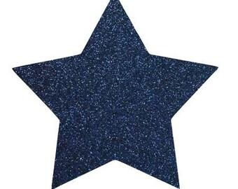 10 X 9.5 cm Navy Blue glittery star fusible pattern