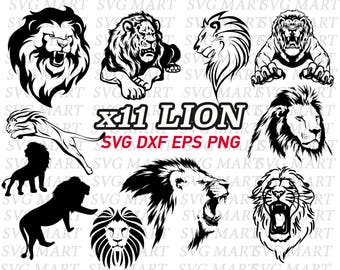 lion svg, wildlife svg, African animal svg, africa animal, stencil, decal, vinyl, cut files, vector, line art, png, eps, dxf, silhouette