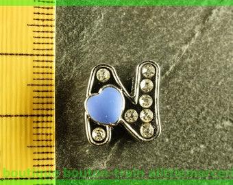 Pearl n heart N4 bandwidth rhinestone alphabet for bracelet