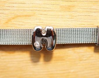 round letter bead bubble width aluminum H alphabet bracelet