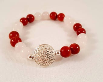"""Beautiful gemstone Bracelet """"mala"""" made of agate and the flower of life made of 925 sterling silver"""
