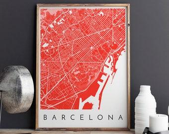 Barcelona Map Print, Barcelona Print, Barcelona Map, Barcelona Poster, Barcelona Art, Modern Map Print, Map of Barcelona, Barcelona City Map