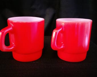 2 Red Fire King/Anchor Hooking Stackable Mugs