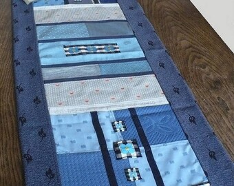 """Bright blue"" wall hanging or table runner"