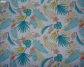 Fabric C964 birds pink and turquoise coupon sheets 35x50cm