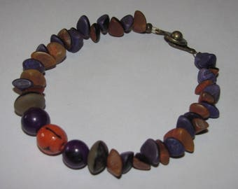 Boho bracelet seed buri purple and orange