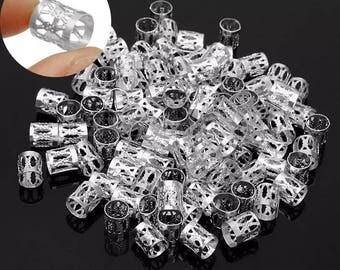 50 Silver Dreadlock cuff clips/beads
