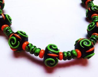 Polymer clay necklace * Green Spi *.