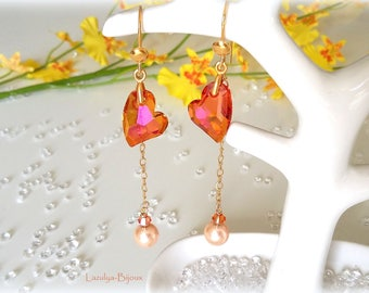 Long-heart earrings Swarovski Astral Pink - Swarovski - Bicone Swarovski pearls - Gold filled chain