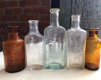 Antique apothecary bottles lot - brown blue and clear