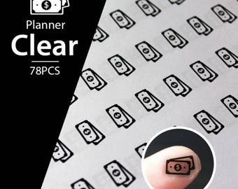 Clear Waterproof Planner Sticker. money sticker, payday sticker, bill sticker, transparent sticker, clear sticker (L143)