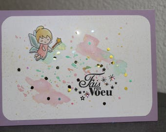 """little fairy """"make a wish"""" card for a birthday or a baby girl baptism"""