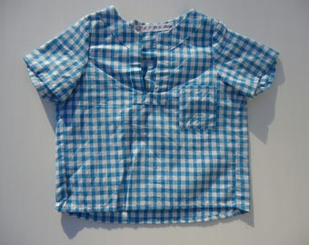COTTON TUNIC IS CHECKERED BLUE TURQUOISE AND WHITE 2 YEARS