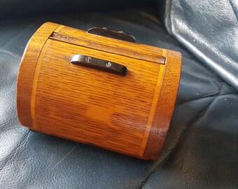 Vintage wooden table cigarette dispenser