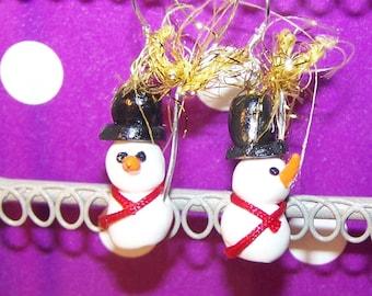 snowman snow fimo earrings handmade