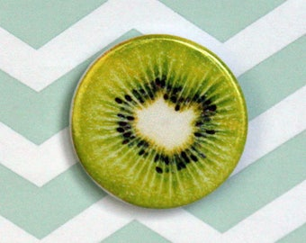 Kiwi Fruit Pin/Button, Magnet, Keychain