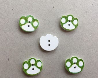 "1 set of 4 wooden ""Paw print"" buttons set green and white sewing, scrapbooking, baby"