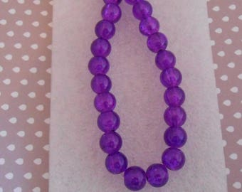 Set of 20 8 mm purple cracked glass beads