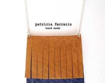fantasy necklace with electric blue/saffron two-tone leather fringe