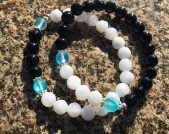 Onyx and Moonstone Stacked Bracelet