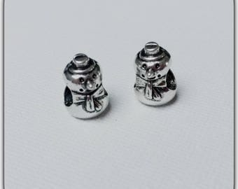 2 beads silver-plated charms snowman snow