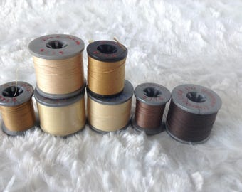 Molnlycke thread, brown, gold, quilting, sewing, made in U.S., polyester