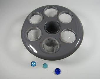 Grey glazed earthenware jar support
