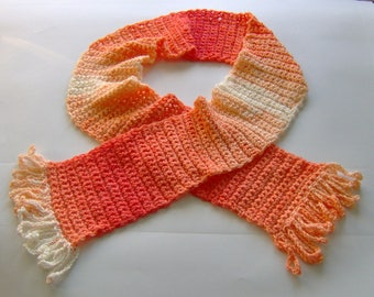 Women Crochet scarf white and orange color, hand crocheted, handmade, winter scarf, Ruffle Scarf, cute scarf, gift for women, women gift
