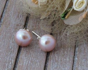 925 Peach Freshwater Pearl Stud Earrings, Peach Stud Earrings, Freshwater Bridal Earrings,Pearl Studs, Peach Pearl Jewelry
