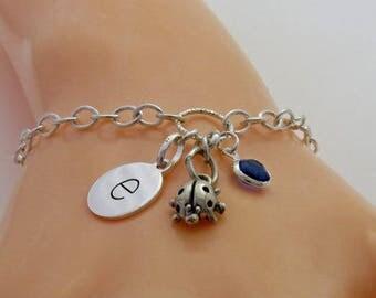 Sterling Silver Ladybird Bracelet, Ladybird Charm Bracelet, ladybug Bracelet, Initial Charm Bracelet, Sterling Silver Ladybug Bracelet