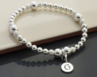 Sterling Silver Stacking Initial Bracelet, Personalized Silver Ball Stretch Bracelet, Silver Bracelet for Women, Silver Beaded Bracelet