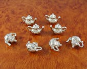Teapot charms / 8 tea pot charms / 3 D jewelry charms / silver tone craft charms