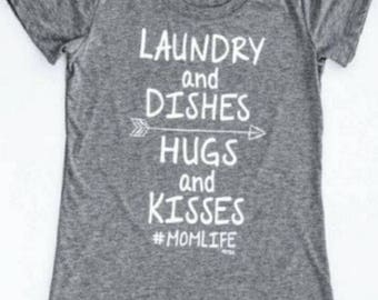 Laundry and Dishes, Hugs and Kisses Adult Tee