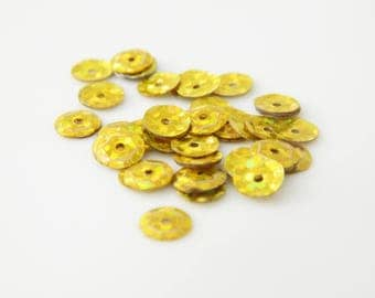 set sequin paillette sewing yellow 6mm 4 g (l31)