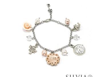 Alice in Wonderland inspired charm bracelet pink