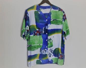Vintage 90s Oversized Blue Shirt
