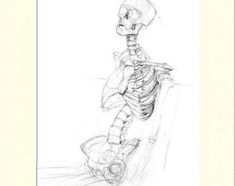 "Skeleton Sketch, Pencil, Print 12"" x 16"" inc. Mount"