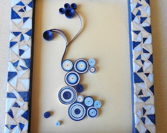 Frame quilling and mosaic blue and beige