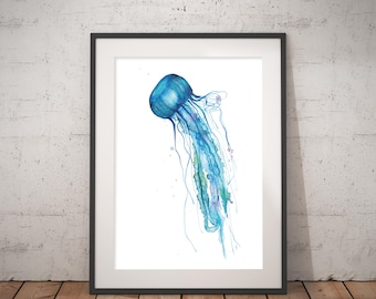 Art print jellyfish Watercolour Painting, hand-signed