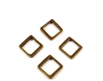 Set of 2 square rings bronze (Ref.57)