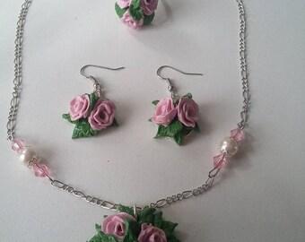 """DESTASH set """"bouquet of roses"""" pink"""