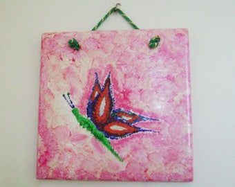 """""""H 15 x 15"""" Vintage tile with hand painted butterfly"""