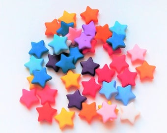 x 40 stars mix beads multicolor