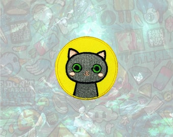 Gray Cute Cat patch Cartoon Animal Patch Iron on Patch Sew On Patches
