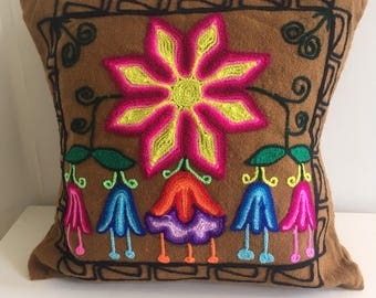 Embroidered cushion pillow cover. Colourful, boho, handmade with peruvian wool.