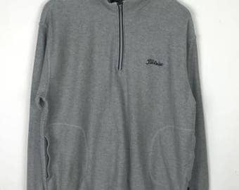 Rare!!! Titleist Pullover Spellout Small Loho Embroidery Double Pockets Half Zipper Jumper